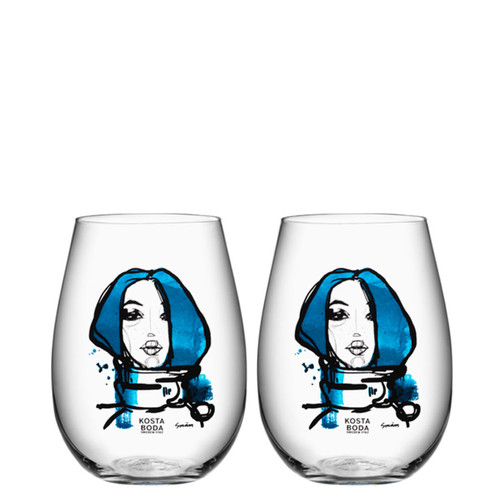 Kosta Boda All About You Tumbler 2 Pack Miss You Blue
