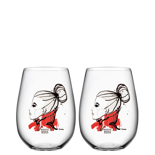 Kosta Boda All About You Tumbler 2 Pack Want You Red