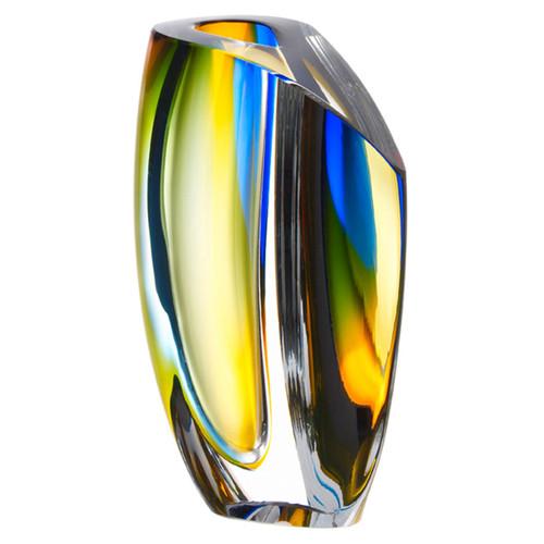 Kosta Boda Mirage Vase Blue Amber Large