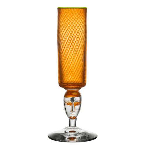 Kosta Boda Red Rim Brains Footed Vase Orange