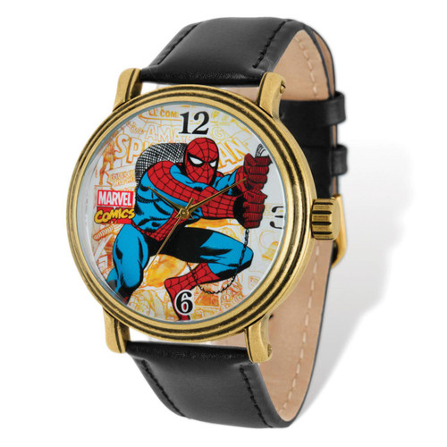 Marvel Spiderman Black Leather Band Watch Adult Size MPN: XWA4989