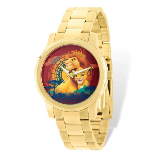 Disney Gold-tone Lion King Mufasa Simba Watch Adult Size XWA5170