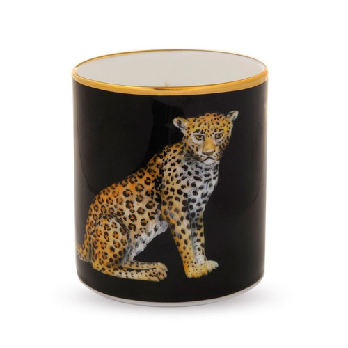Halcyon Days Leopard Black Filled Candle BCMWL02CAG