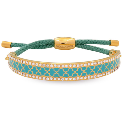 Halcyon Days Agama Sparkle Turquoise Gold 1cm Friendship Bangle FBAGS1410G