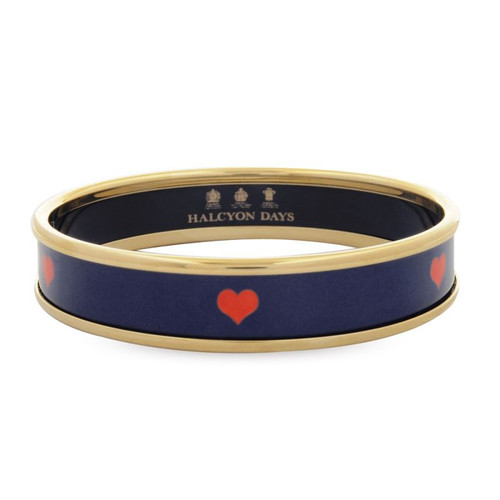 Halcyon Days Red Heart On Navy Bangle Small PBRHE1110GS