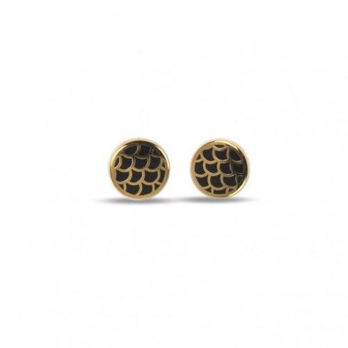 Halcyon Days Stud Earrings Salamander Black Gold EASAL02STG