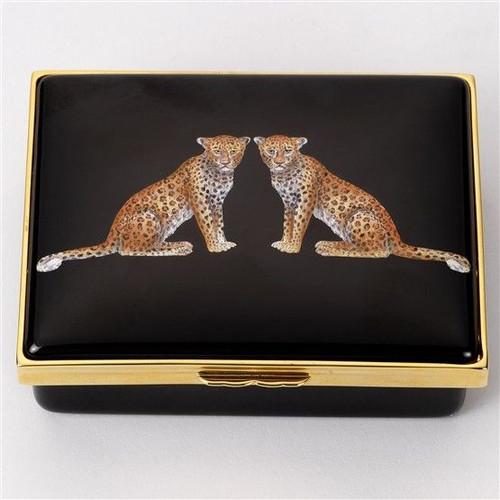 Halcyon Days Twin Leopards Box ENMWL0214LG