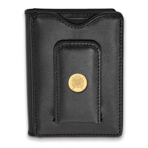 Sacramento Kings Black Leather Wallet Gold-plated Silver on Leather GP011KNG-W1