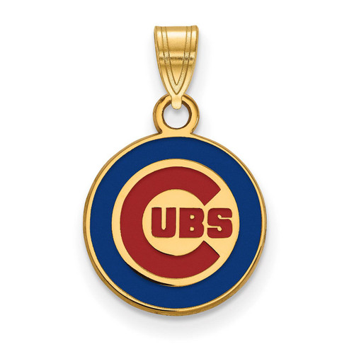 Chicago Cubs Small Enamel Pendant Gold-plated Silver GP012CUB