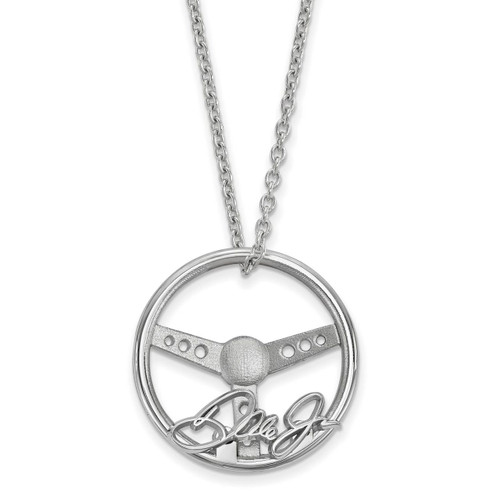 Large Steering Wheel with Dale Jr. Signaturewith 18 Inch Silver Chain Necklace Sterling Silver NAS03688PC