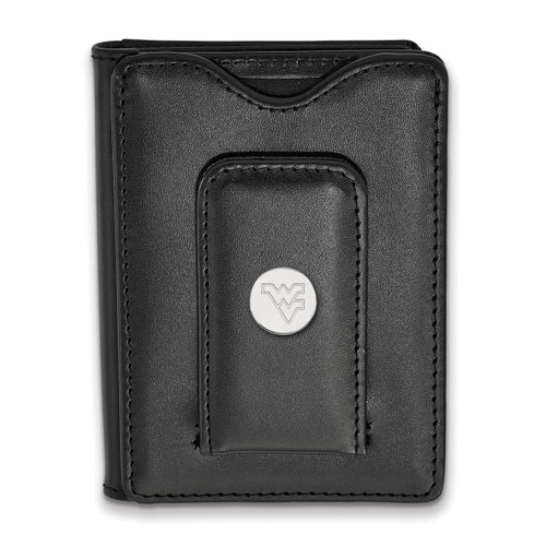 West Virginia University Black Leather Wallet Sterling Silver on Leather SS013WVU-W1