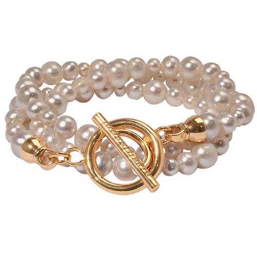 Nikki Lissoni White Pearl Bracelet with Gold-Plated T-Bar Closure Size Large BQ02GL