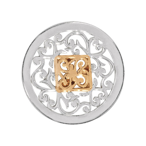 Nikki Lissoni Square Fantasy Silver Gold-Plated 23mm Coin C1205SS
