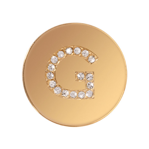 Nikki Lissoni Sparkling Letter Initial G Gold-Plated 23mm Coin C1262GSG