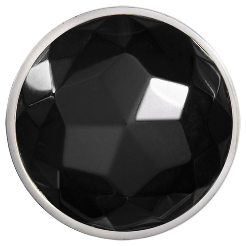 Nikki Lissoni Faceted Black Agate Silver-Plated 43mm Coin C1365SL