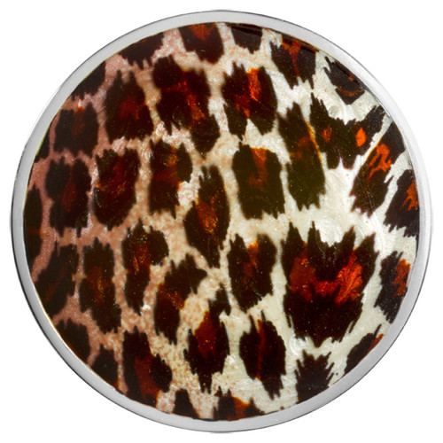 Nikki Lissoni Leopard Print Silver-Plated 43mm Coin C1444SL