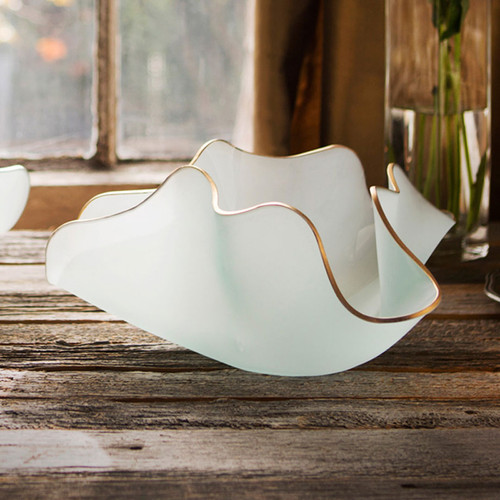 Annieglass Anemone Small Frosted with Gold Trim 15 x 14 x 7 Inch