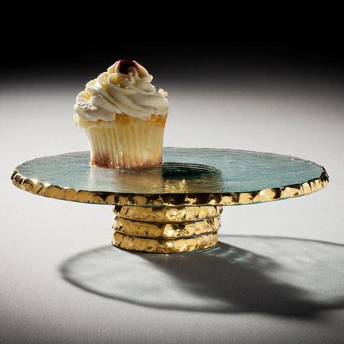 Annieglass Edgey Cupcake Stand 9 1/2 Inch - Gold