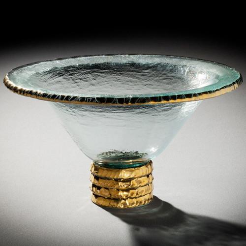 Annieglass Edgey Trophy Bowl 11 1/2 Inch - Gold