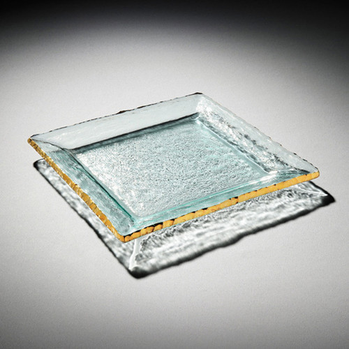Annieglass Edgey Square Platter 12 Inch - Gold