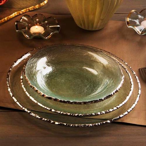 Annieglass Edgey Dinner Plate 10 Inch - Platinum