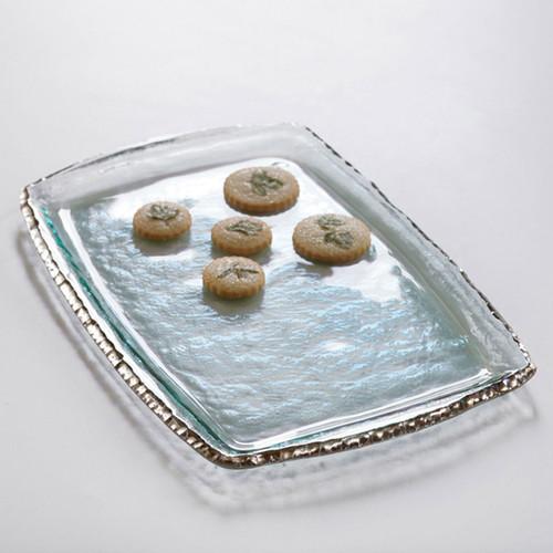Annieglass Edgey Martini Tray 17 1/4 x 11 1/2 Inch - Platinum