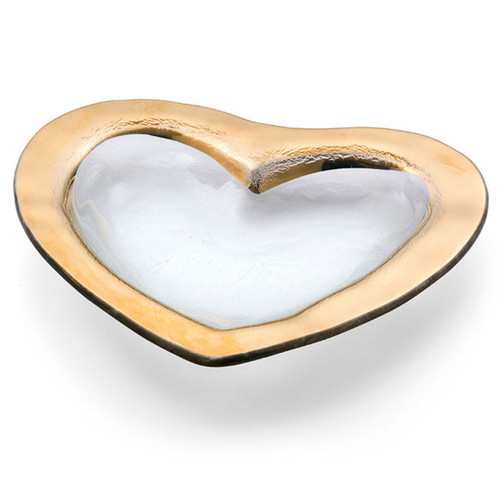 Annieglass Hearts Bowl 8 Inch - Gold