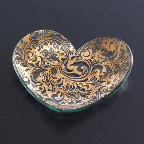 Annieglass Hearts Plate Florentine 7 Inch - Gold MPN: CSH203G