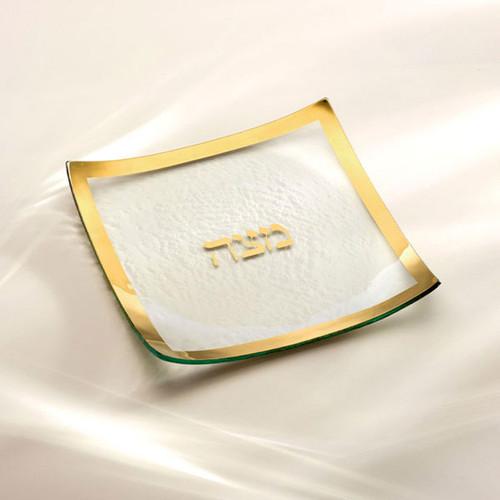 Annieglass Judaica Square Matza Plate 10 x 10 Inch - Gold