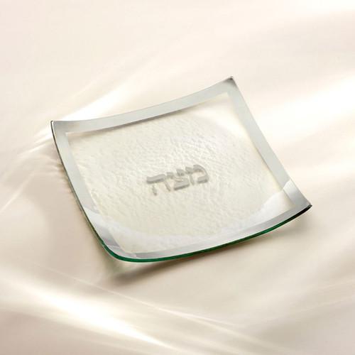 Annieglass Judaica Square Matza Plate 10 x 10 Inch - Platinum