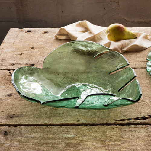 Annieglass Leaves Large Palm Frond Bowl 15 1/2 Inch