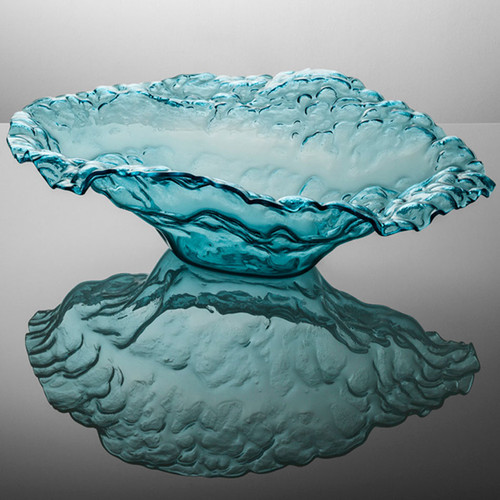 Annieglass Limited Edition Sculpture Water Sculpture Bowl 28 x 20 x 8 1/2 Inch Ultramarine