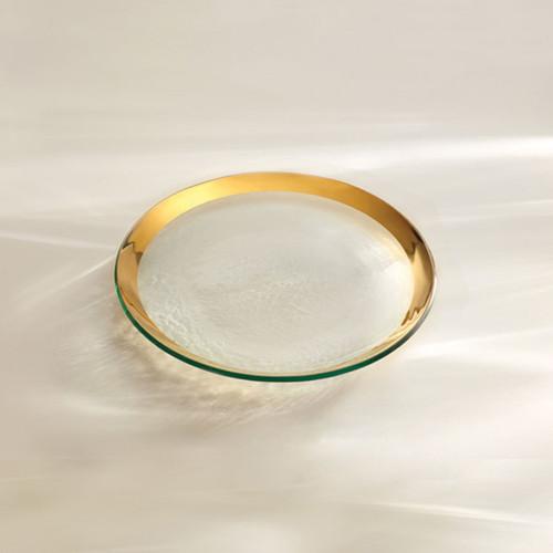 Annieglass Gold Roman Antique Salad Plate 8 3/4 Inch