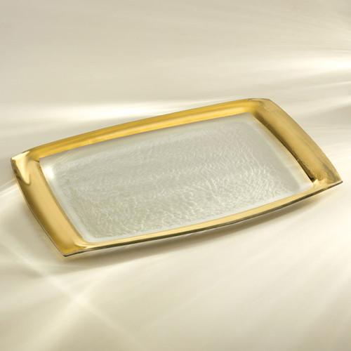 Annieglass Gold Roman Antique Rectangular Tray 11 x 18 Inch