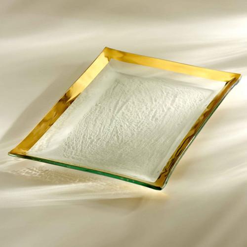 Annieglass Gold Roman Antique Martini Tray 14 1/2 x 10 Inch