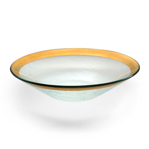 Annieglass Gold Roman Antique Wok Bowl 13 1/4 Inch