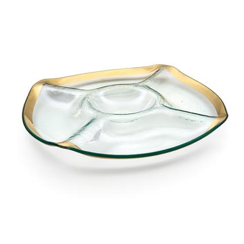 Annieglass Gold Roman Antique Five-Section Chip & Dip 13 1/2 Inch
