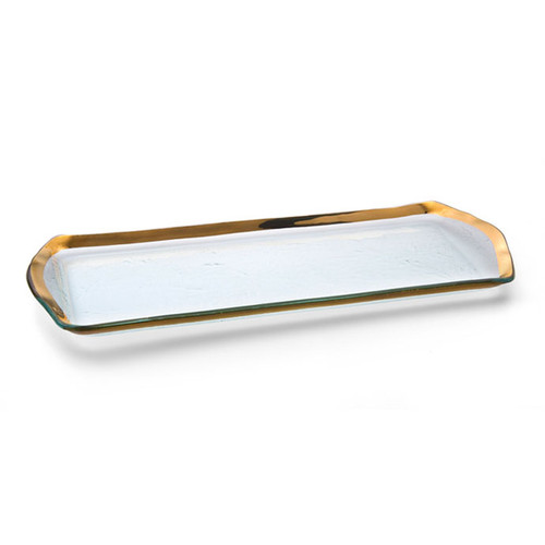 Annieglass Gold Roman Antique Oblong Pastry Tray 16 3/4 x 6 3/4 Inch