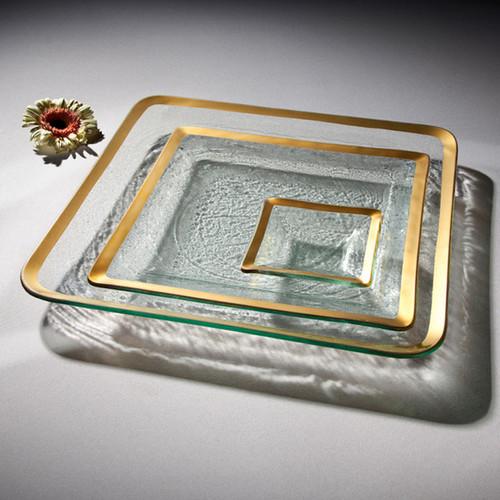 Annieglass Gold Roman Antique Small Square Dish 5 Inch