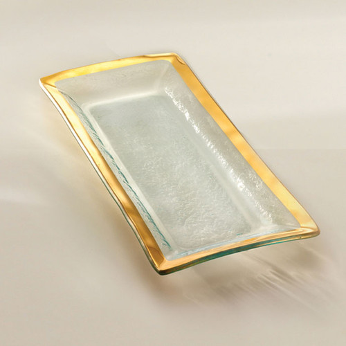 Annieglass Gold Roman Antique Appetizer Tray 13 1/2 x 6 Inch
