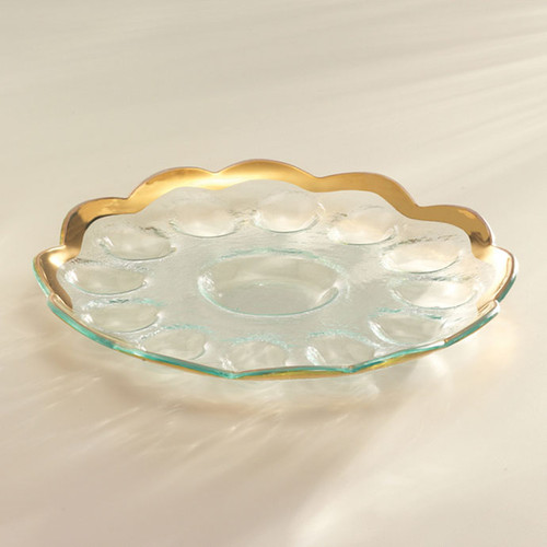 Annieglass Gold Roman Antique Deviled Egg Platter 11 1/2 Inch