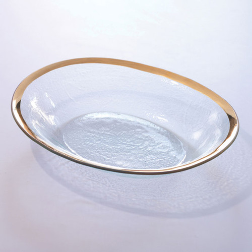Annieglass Gold Roman Antique Large Oval Serving Bowl 12 1/2 x 15 1/2 Inch