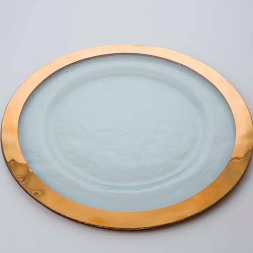 Annieglass Gold Roman Antique Service Plate 13 1/2 Inch