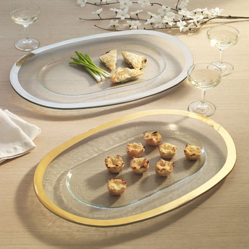 Annieglass Gold Roman Antique Oval Buffet Server 19 1/4 x 13 1/4