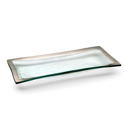 Annieglass Platinum Roman Antique Olive Tray 11 x 5 Inch