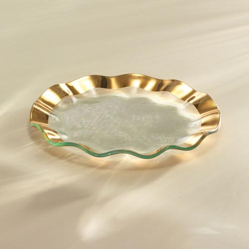 Annieglass Ruffle Gold Salad Plate 9 1/2 Inch