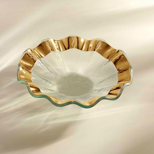 Annieglass Ruffle Gold Bowl 7 Inch