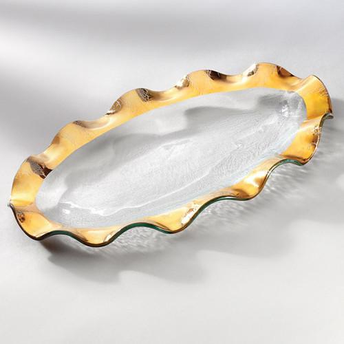 Annieglass Ruffle Gold Oval Platter 14 1/2 x 9 1/2 Inch