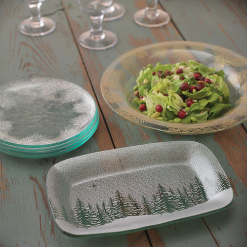 Annieglass Winter Evergreen Appetizer Tray 11 x 7 Inch