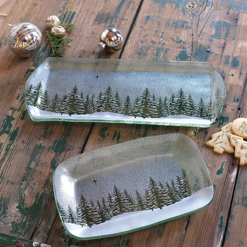 Annieglass Winter Evergreen Party Tray 16 3/4 x 6 3/4 Inch